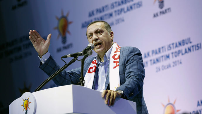 Turkey's Prime Minister Tayyip Erdogan addresses his supporters during a party meeting to announce AK Party candidates for the upcoming local elections in Istanbul January 26, 2014. REUTERS/Murad Sezer
