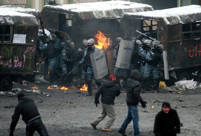 Riot police officers gather during clashes with pro-European protesters in Kiev (Reuters / Maks Levin)
