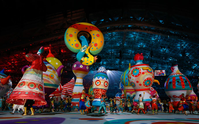 An acrobat performs during the opening ceremony of the 2014 Sochi Winter Olympic Games at Fisht stadium February 7, 2014 (Reuters / Brian Snyder)
