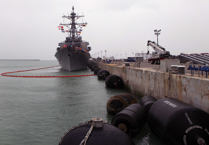 The USS Donald Cook lays at dock in the southern port of Rota on February 11, 2014.(AFP Photo / Gogo Lobato )