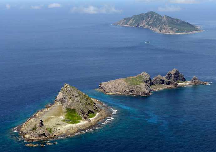 A group of disputed islands, Uotsuri island (top), Minamikojima (bottom) and Kitakojima, known as Senkaku in Japan and Diaoyu in China.(Reuters / Kyod)