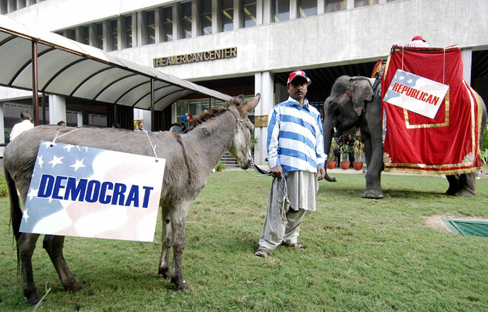 An Indian man stands between a donkey bearing a Democrats banner and an elephant bearing a Republicans banner during an election watch organised at the American Centre in New Delhi (AFP Photo / Prakash Singh)