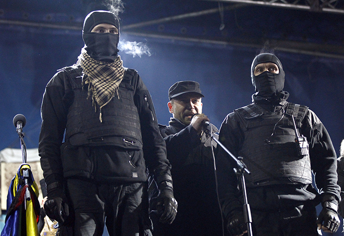 Dmytro Yarosh, a leader of the Right Sector movement, addresses during a rally in central Independence Square in Kiev February 21, 2014. (Reuters / David Mdzinarishvili)
