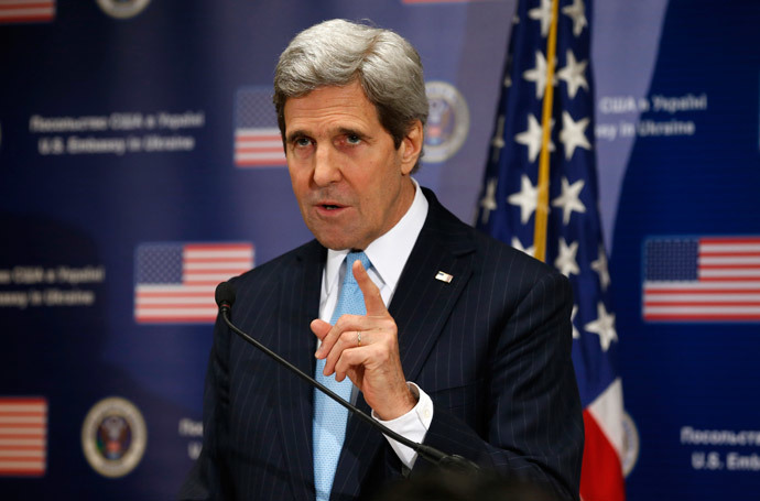 U.S. Secretary of State John Kerry speaks during a news conference at the U.S. Embassy in Kiev March 4, 2014.(Reuters / Kevin Lamarque)