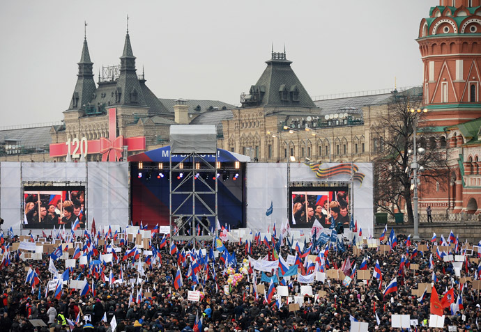 "Participants in the ""We Are Together"" rally and concert to support the residents of the Crimea, at Vasilyevsky Slope, Moscow. (RIA Novosti)"