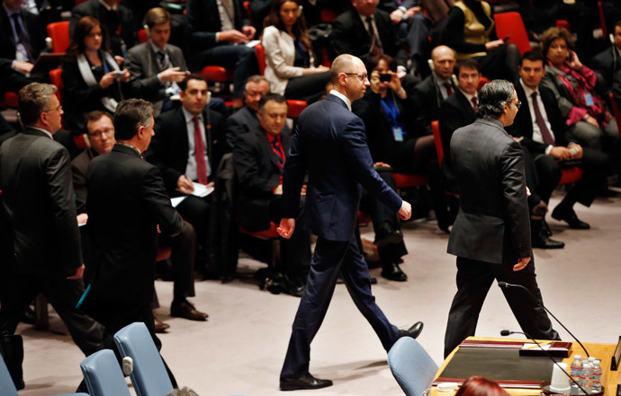 Ukraine Prime Minister Arseniy Yatsenyuk walks into the United Nations Security Council chamber before his address to a meeting of the Council on the crisis in Ukraine, at U.N. Headquarters in New York, March 13, 2014.(Reuters / Mike Segar)