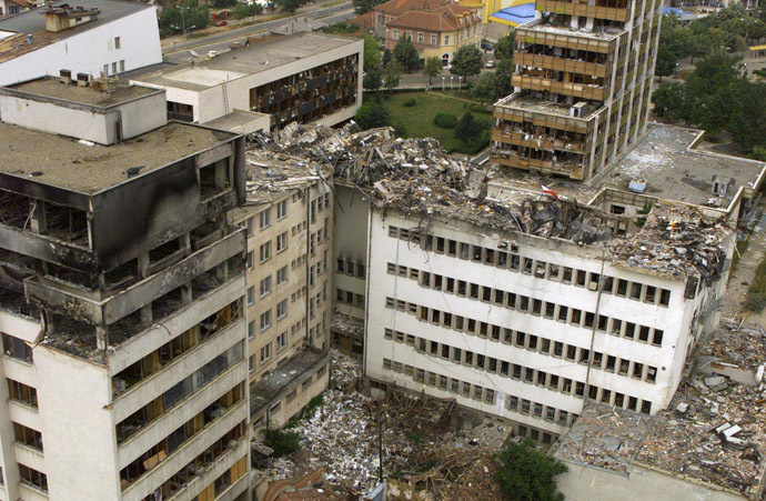 An aerial view taken 15 June 1999 of the Pristina central post office which was destoyed by NATO bombing. (AFP Photo/Reuters)