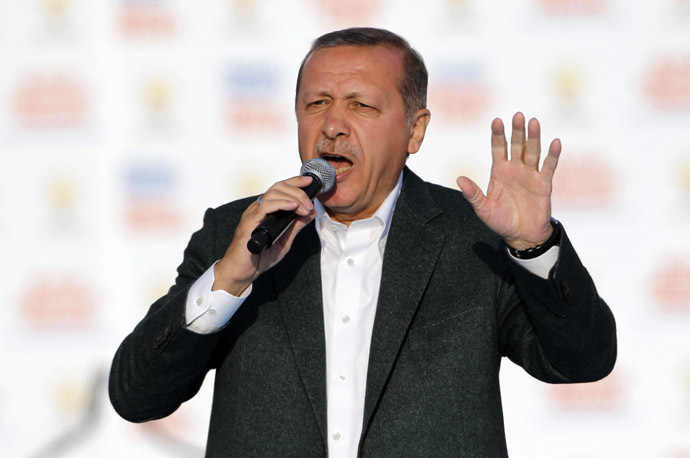 Turkey's Prime Minister Tayyip Erdogan addresses his supporters during an election in Istanbul March 23, 2014. (Reuters)