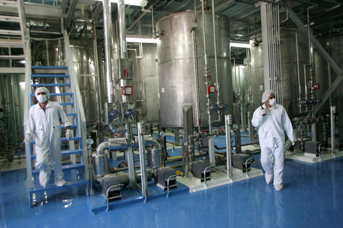 Iranian technicians are seen at the Isfahan Uranium Conversion Facilities (UCF), 420 kms south of Tehran (AFP Photo)