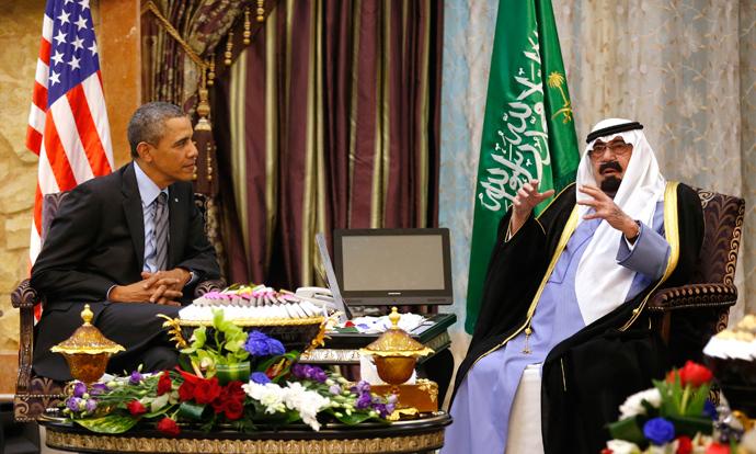 US President Barack Obama meets with King Abdullah at Rawdat al-Khraim (Desert Camp) near Riyadh in Saudi Arabia, March 28, 2014 (Reuters / Kevin Lamarque)