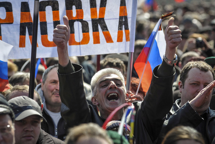 A man shouts during a pro-Russia rally near the regional government building in Donetsk April 6, 2014. (Reuters)