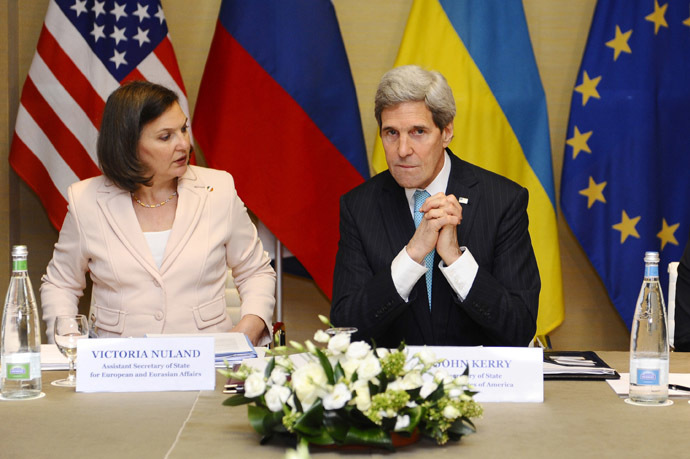U.S. Secretary of State John Kerry (R) sits next to U.S. Assistant Secretary of State for Europe Victoria Nuland during a meeting in Geneva, between representatives from Ukraine, the European Union, Russia and the U.S. on the crisis in Ukraine April 17, 2014. (Reuters/Alain Grosclaude)