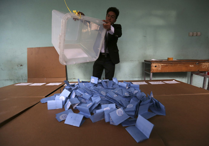 An Afghan election official empties a ballot box for counting at the end of polling in Herat Province, April 5, 2014. (Reuters)
