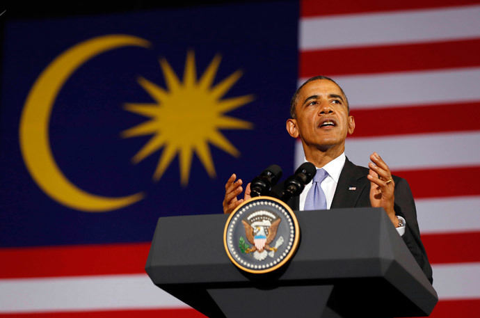 U.S. President Barack Obama speaks at the Young Southeast Asian Leaders Initiative Town Hall at University of Malaya in Kuala Lumpur April 27, 2014. (Reuters / Larry Downing)