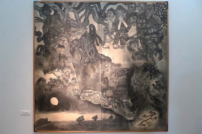 Fragment from Battle of Okinawa painting (Image by Andre Vltchek)