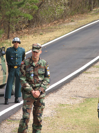 US and South Korean soldiers at the border with North Korea (Image by Andre Vltchek)