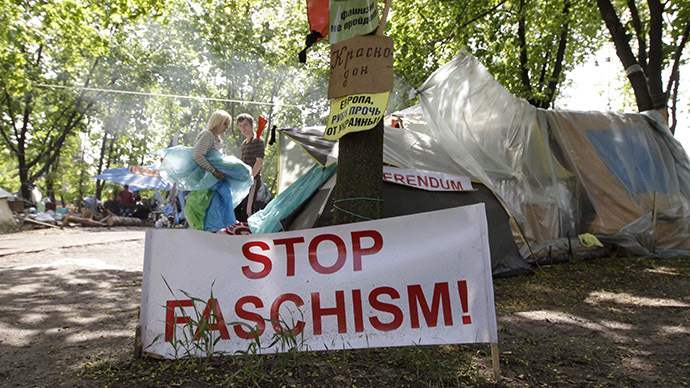 Activists are seen in a camp near the seized office of the SBU state security service in Luhansk, eastern Ukraine, May 3, 2014. (Reuters / Vasily Fedosenko)