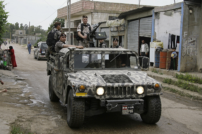 Lebanese army troops deploy in Wadi Khaled on Lebanon's northern border with Syria on May 20, 2011. (AFP Photo / Joseph Eid)