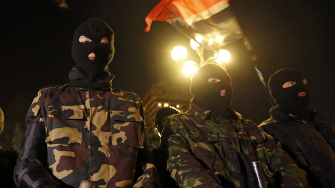 Members of the Ukrainian far-right radical group Right Sector (Reuters/Vasily Fedosenko)