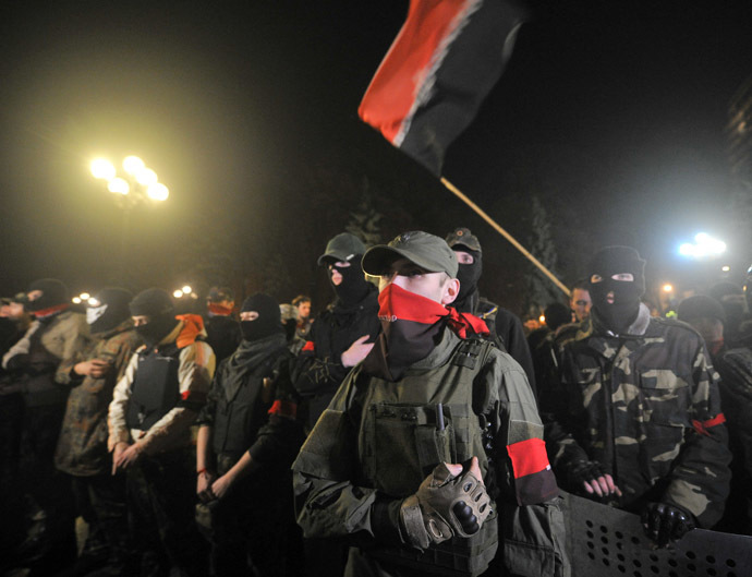 Supporters of the right wing party Pravyi Sector (Right Sector) (AFP Photo/Genya Savilov)