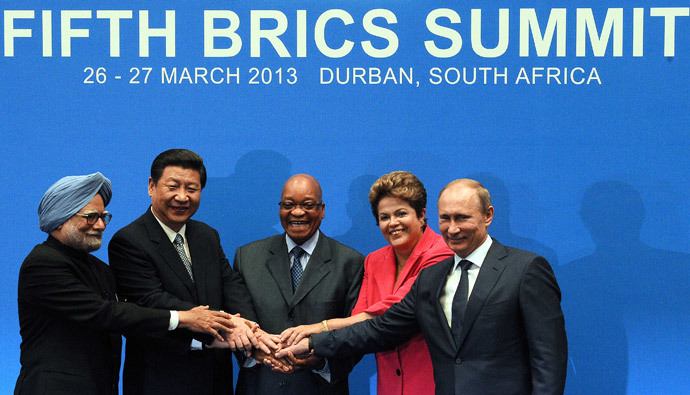 BRICS leaders (From L) India Prime minister Manmohan Singh, President of the People's Republic of China Xi Jinping, South Africa's President Jacob Zuma, Brazil's President Dilma Rousseff and Russian Federation President Vladimir Putin, pose for a family photo in Durban on March 27, 2013.( AFP Photo / Alexander Joe )