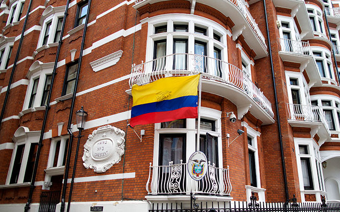 A general view shows the Ecuadorian Embassy in London on June 18, 2014 where Australian-born activist Julian Assange remains holed up after almost two years. (AFP Photo / Andrew Cowie)
