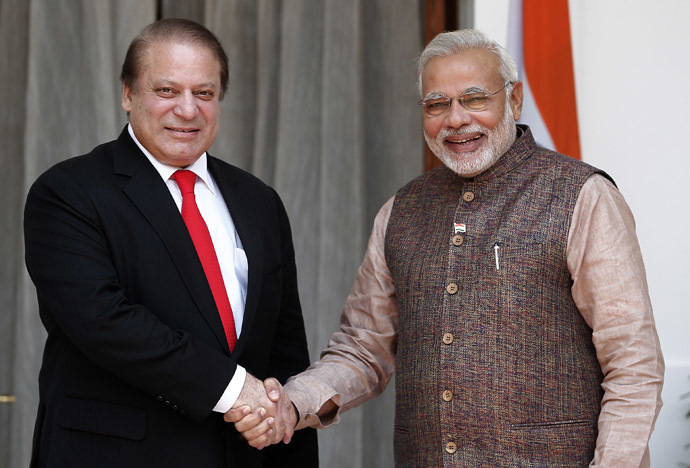 India's Prime Minister Narendra Modi (R) shakes hands with his Pakistani counterpart Nawaz Sharif before the start of their bilateral meeting in New Delhi May 27, 2014. (Reuters/Adnan Abidi)