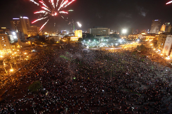 Egyptians gather in Tahrir square to celebrate former Egyptian army chief Abdel Fattah al-Sisi's victory in the presidential vote in Cairo, June 3, 2014. (Reuters/Mohamed Abd El Ghany)