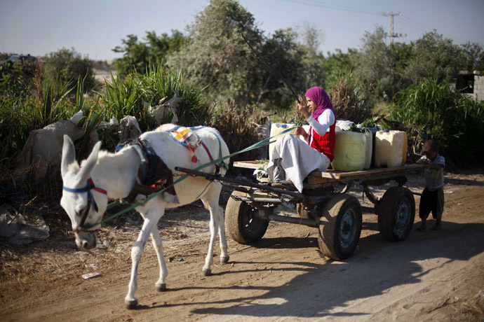 A Palestinian girl rides a donkey cart loaded with containers before filling them with water from public taps in Khan Younis in the southern Gaza Strip (Reuters/Ibraheem Abu Mustafa)