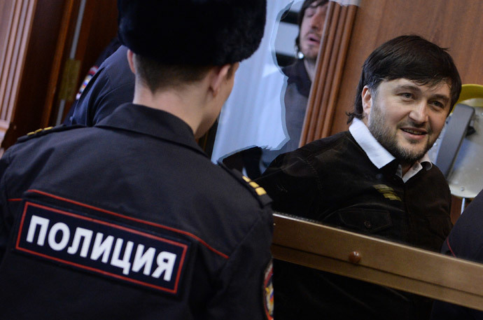 Rustam Makhmudov, a defendant in Novaya Gazeta columnist Anna Politkovskaya murder case, during a hearing in the Moscow City Court.(RIA Novosti / Alexey Filippov)