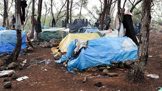 Migrants' tents on mount Gurugu. Photo by @TomasoClavarino