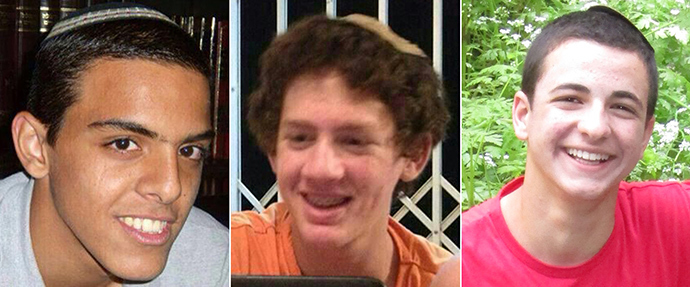Picture of three kidnapped Israeli teens