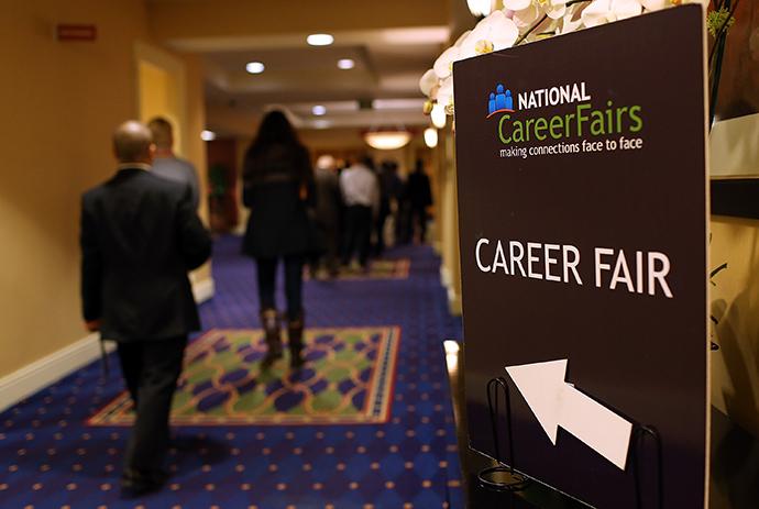 Job seekers arrive at the National Career Fairs' San Francisco South Career Fair (AFP Photo)