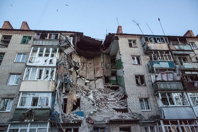 Aftermath of an artillery attack by the Ukrainian army on the Artyom district in Slavyansk. (RIA Novosti)