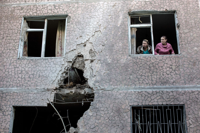The aftermath of an artillery shelling of Slavyansk by the Ukrainian military. (RIA Novosti)