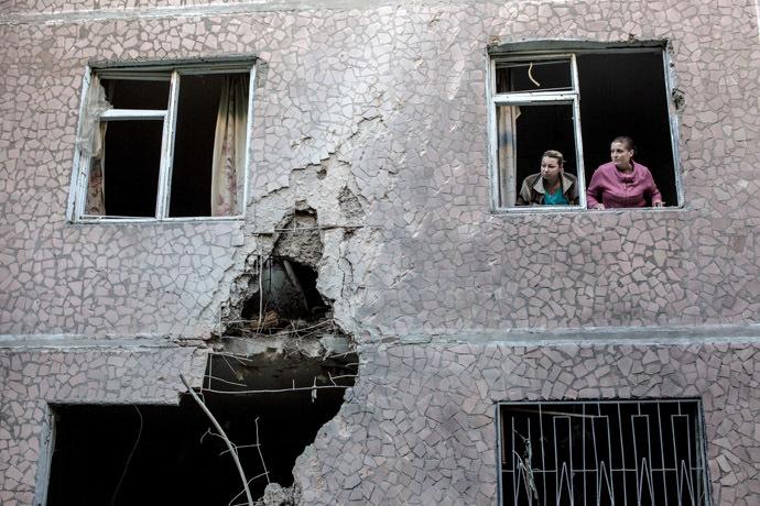 The aftermath of an artillery shelling of Slavyansk by the Ukrainian military. (RIA Novosti)