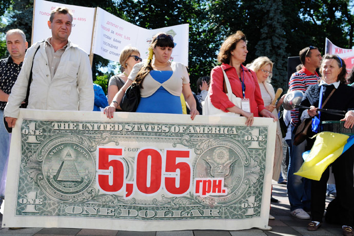 "Participants in the nationwide Ukrainian rally against bank outrage and for the rights of borrowers under the slogan ""No to currency slavery!"" by the building of Ukraine's Verkhovna Rada. (RIA Novosti)"