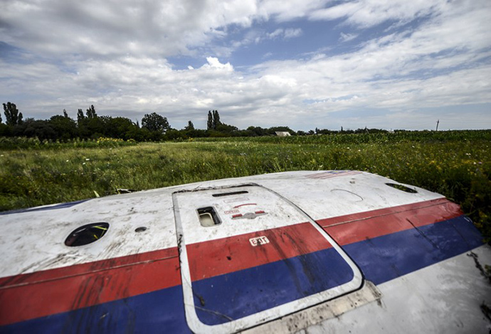 A piece of the wreckage of the Malaysia Airlines flight MH17 is pictured in a field near the village of Grabove, in the region of Donetsk on July 20, 2014. (AFP Photo / Bulent Kilic)