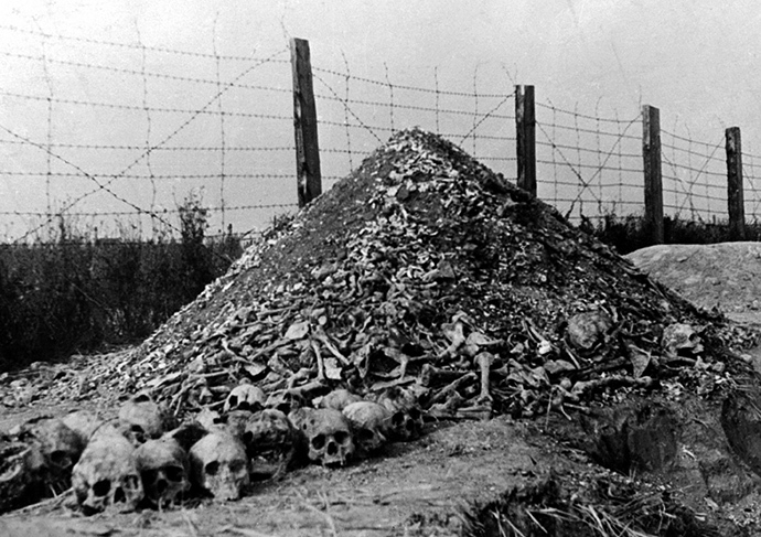 A pile of human bones and skulls is seen in 1944 at the Nazi concentration camp of Majdanek in the outskirts of Lublin. (AFP Photo)