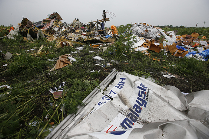 Wreckage from the nose section of a Malaysian Airlines Boeing 777 plane which was downed on Thursday is seen near the village of Rozsypne, in the Donetsk region July 18, 2014. (Reuters / Maxim Zmeyev)