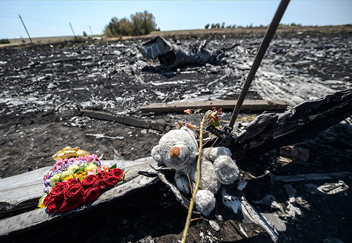 Flowers and a teddy bear, left by parents of an Australian victim of the crash, laid on a piece of the Malaysia Airlines plane MH17, near the village of Hrabove (Grabove), in the Donetsk region. (AFP Photo / Bulent Kilic)