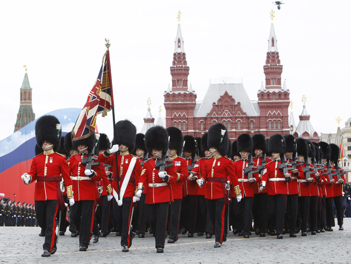 British military personnel march along Red Square during a military parade dress rehearsal in Moscow May 6, 2010. (Reuters)