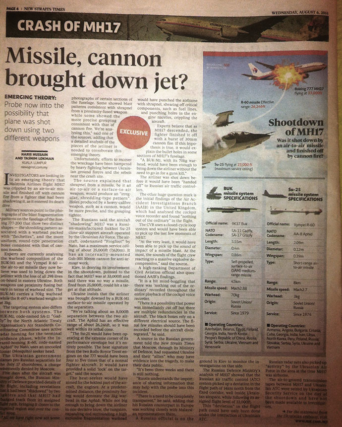 New Straits Times: August 6, 2014 issue (RT Photo)