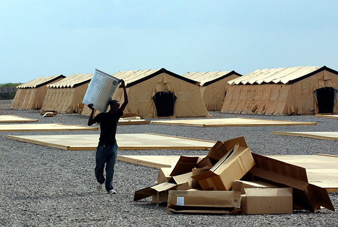 A local employee works inside the US military base in Djibouti, Camp Lemonier (AFP Photo / Pedro Ugarte)
