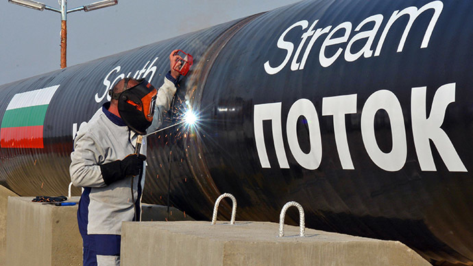 This picture taken on October 31, 2013, shows a worker welding pipes during the symbolic start of the construction of the Bulgarian section of Russian gas giant Gazprom's South Stream pipeline near the village of Rasovo. (AFP Photo)