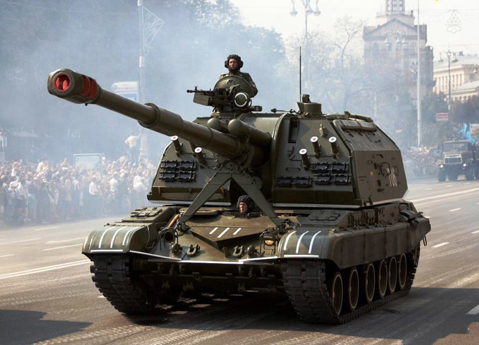NATO's Russian Invasion artillery, at a Kiev military parade 6 years ago - Ukrainian 2S19 Msta-S self-propelled howitzer during the Independence Day parade (Photo from Wikipedia.org)