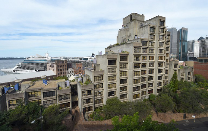 A public housing block called Sirius, which boast views of Sydney Harbour (AFP Photo / William West)