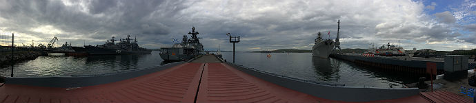Panoramic shot of the military dock at Severomorsk