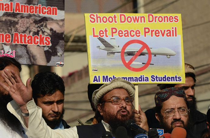 A protest against US drone strikes in Pakistan's tribal region, in Lahore on November 29, 2013. (AFP Photo / Arif Ali)