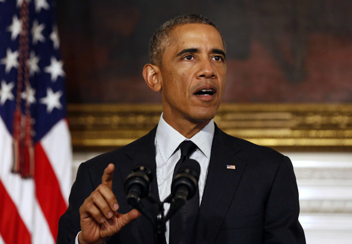 U.S. President Barack Obama talks about the vote on Capitol Hill on his request to arm and train Syrian rebels in the fight against the Islamic State while in the State Dining Room at the White House in Washington, September 18, 2014. (Reuters/Larry Downing)